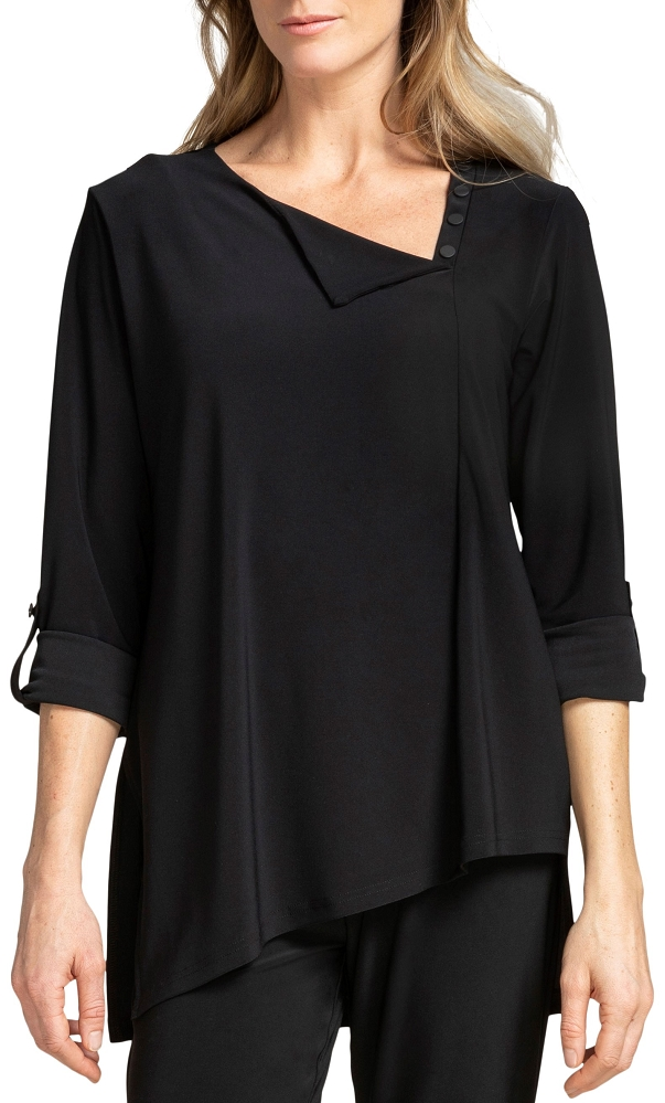 Sympli Womens 3/4 Sleeves, Icon Flop Top Style 22206-3, Color Black Available