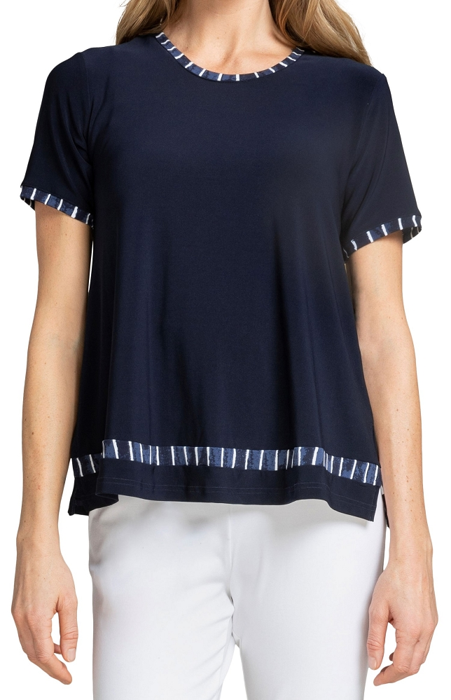 Sympli Womens Outline Boxy T Style 22211CB-1 Painted Lines, Color Navy