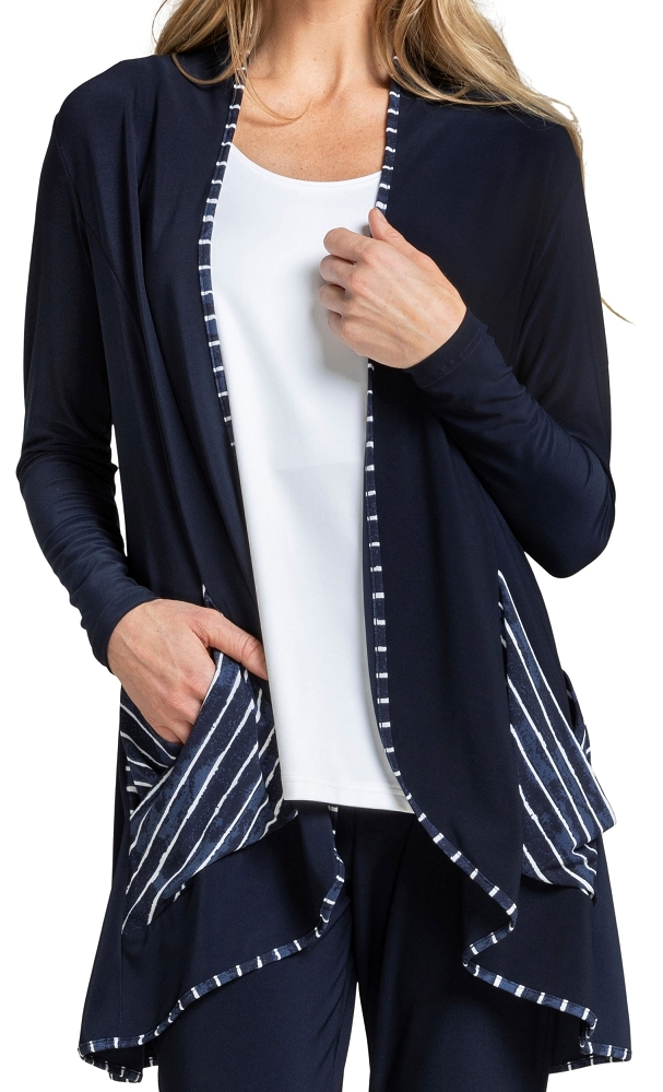 Sympli Womens Outline Cardigan Style 25125CB Painted Lines, Color Navy
