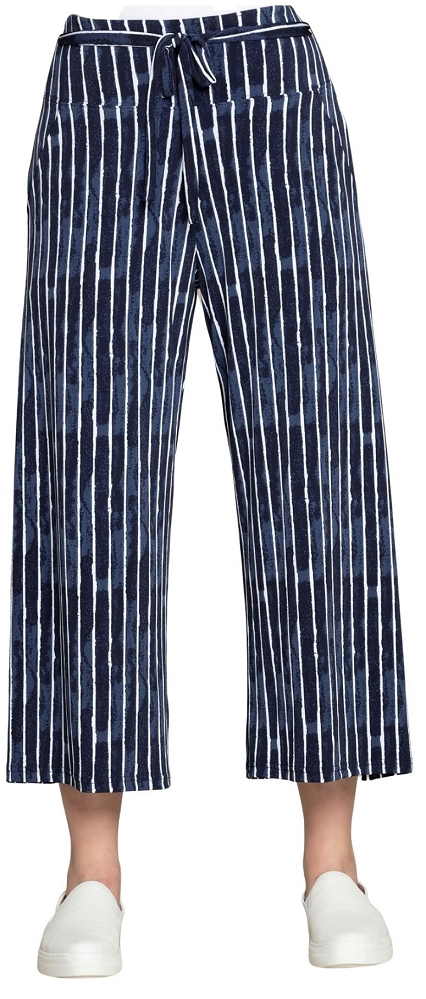 Sympli Womens Crop Wide Leg Trouser Style 27204 Painted Stripes Color Navy