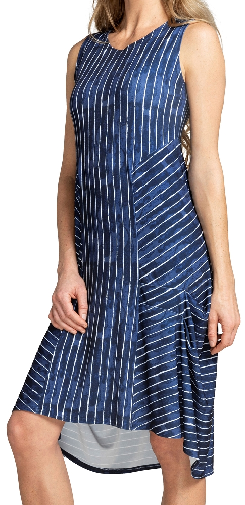 Sympli Womens Sleeveless Hi-Lo Tuck Dress Style 28105CB Painted Lines, Color Navy