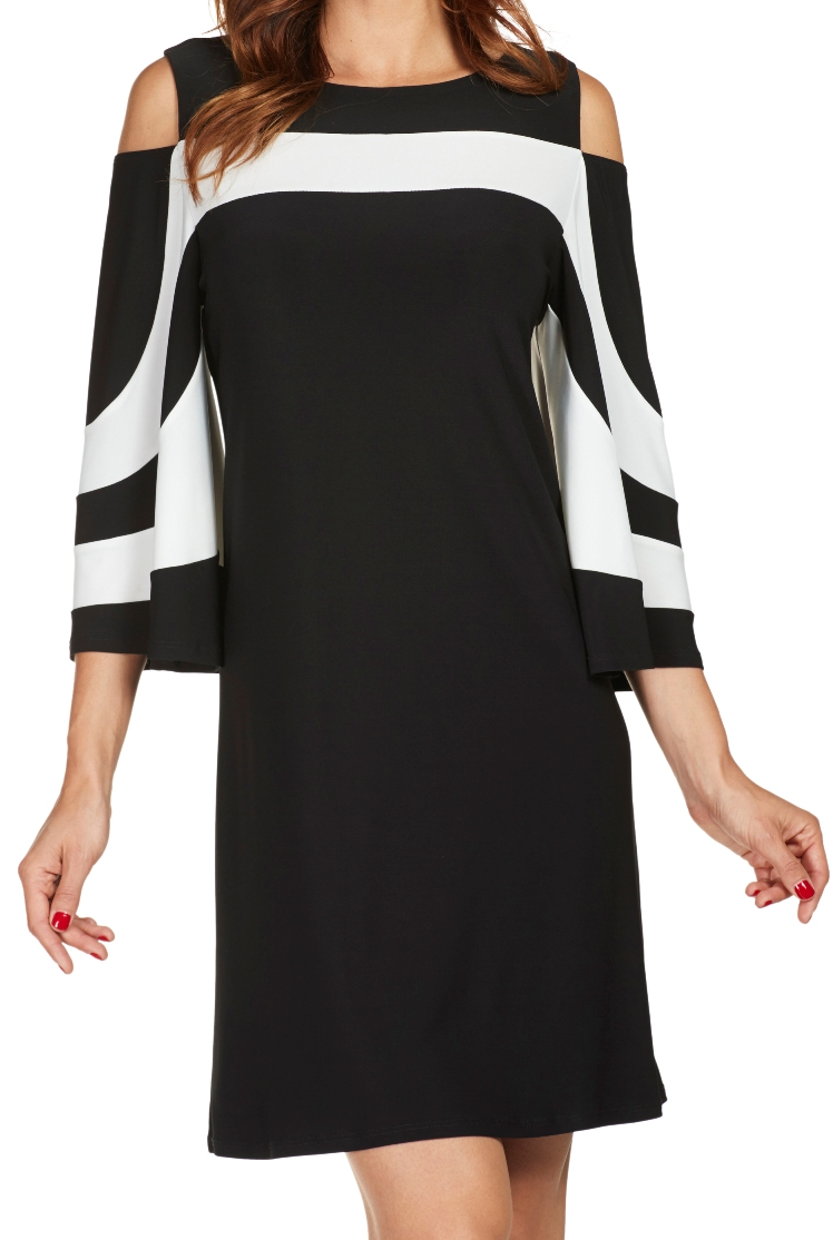 Frank Lyman Womens Cold Shoulder Dress Style 176023 Color Black and Cream