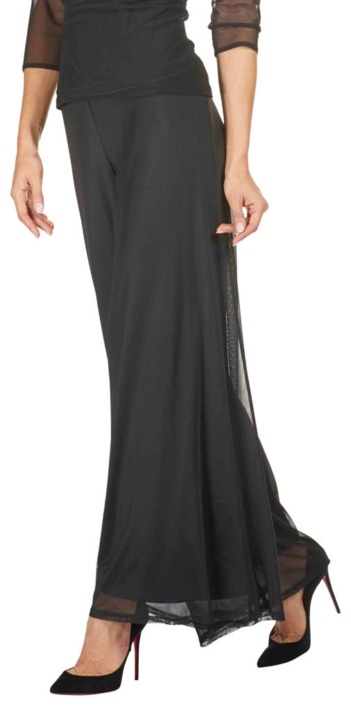 Frank Lyman Womens Wide-Leg Mesh Pants, Style 31410, Color Black
