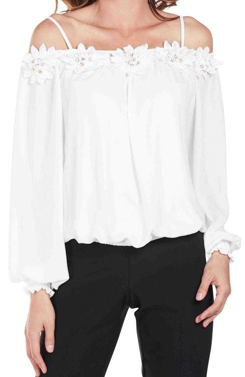 Frank Lyman Womens Off The Shoulder Top Style 175278 Color Off White