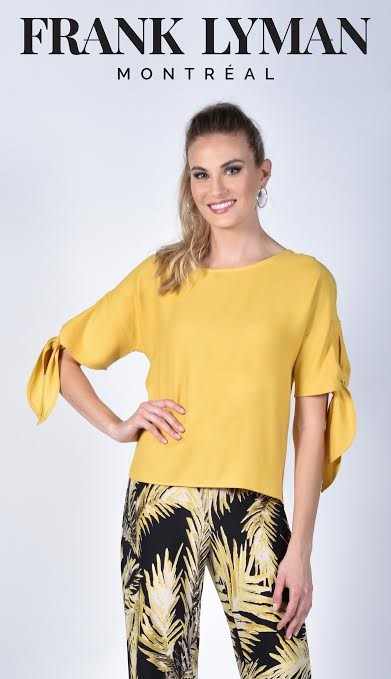 Frank Lyman Womens Woven Top, Style 211157 Color Yellow