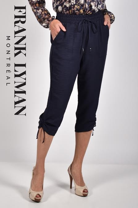 Frank Lyman Womens Woven Pant, Style 211540 Color Navy