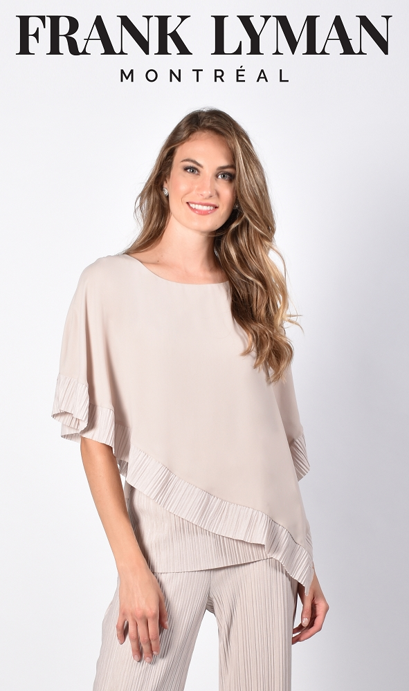 Frank Lyman Womens Woven Top, Style 216344 Color Oatmeal