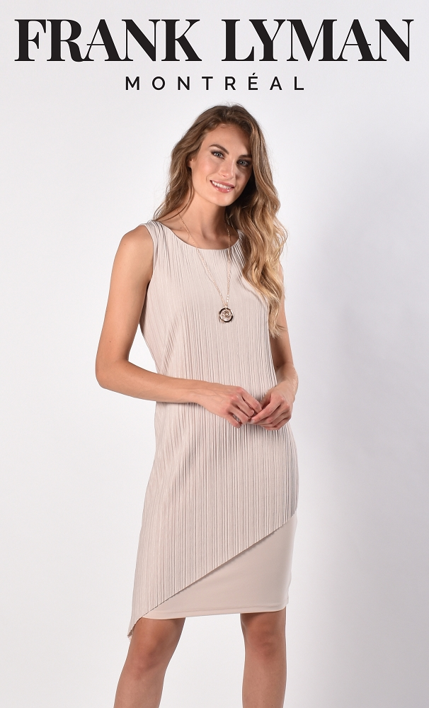 Frank Lyman Womens Woven Dress, Style 216505 Color Oatmeal