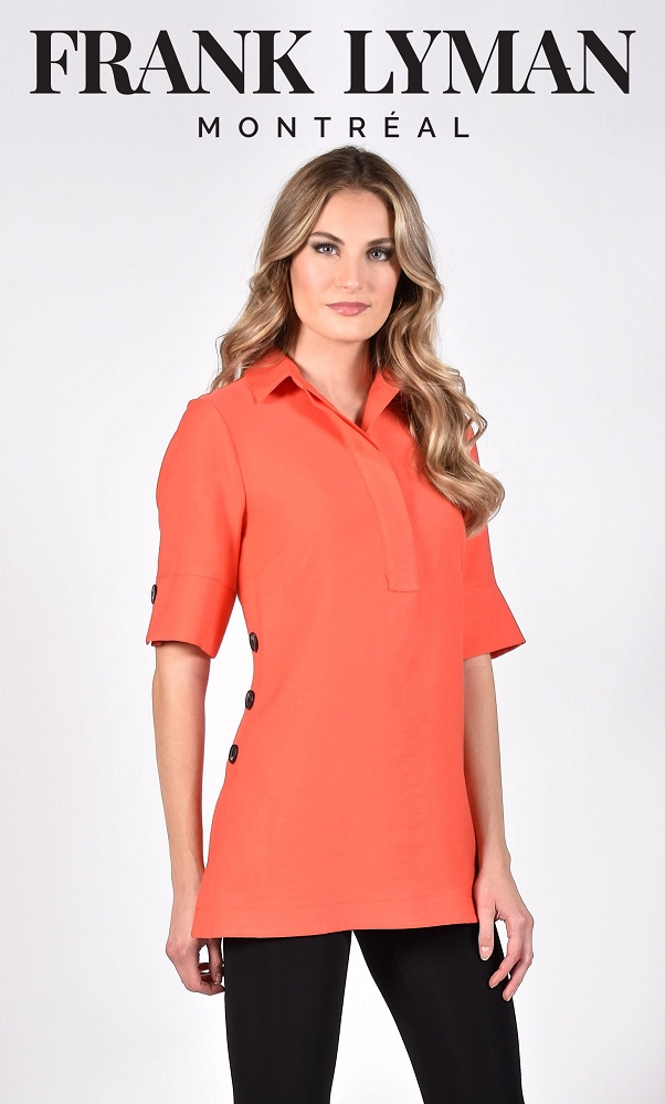 Frank Lyman Womens Knit Top, Style 211156 Color Coral