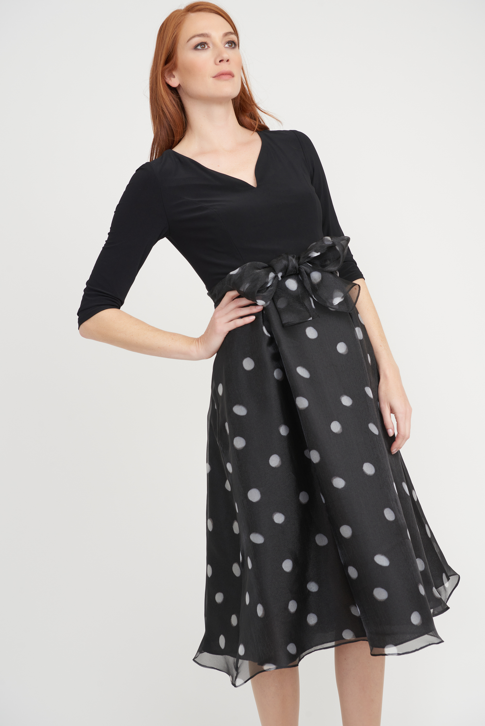 Joseph Ribkoff Womens Polka-Dot Dress, Style 203440 Color Black/White