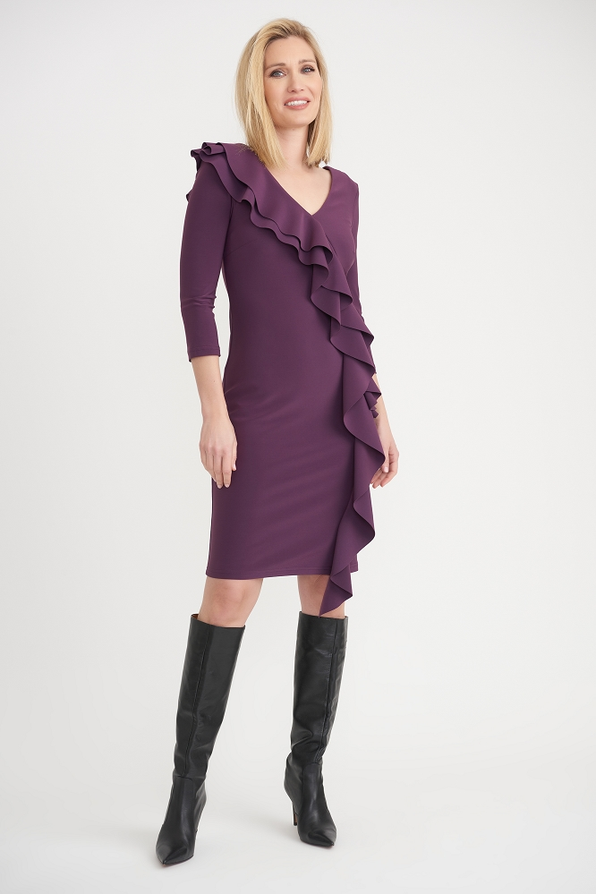 Joseph Ribkoff Womens Side Frilled Longed Sleeved Dress, Style 203336 Color Amethyste