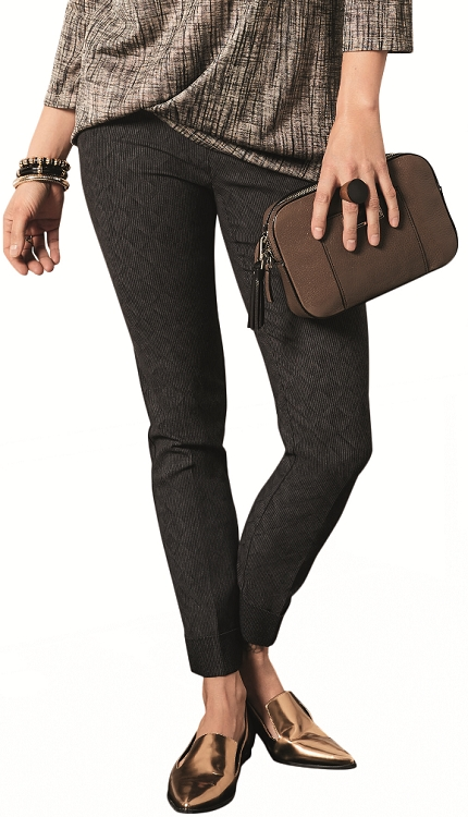 Lisette L. Slim Cuffed Ankle Pants Style 24134 Cubist Print Color Charcoal