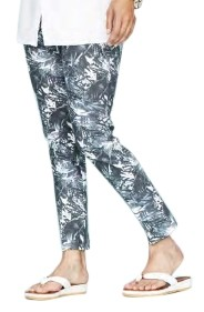 Lisette L. Slim Ankle Pants Style 24201 Palm Leaf Print Color Black