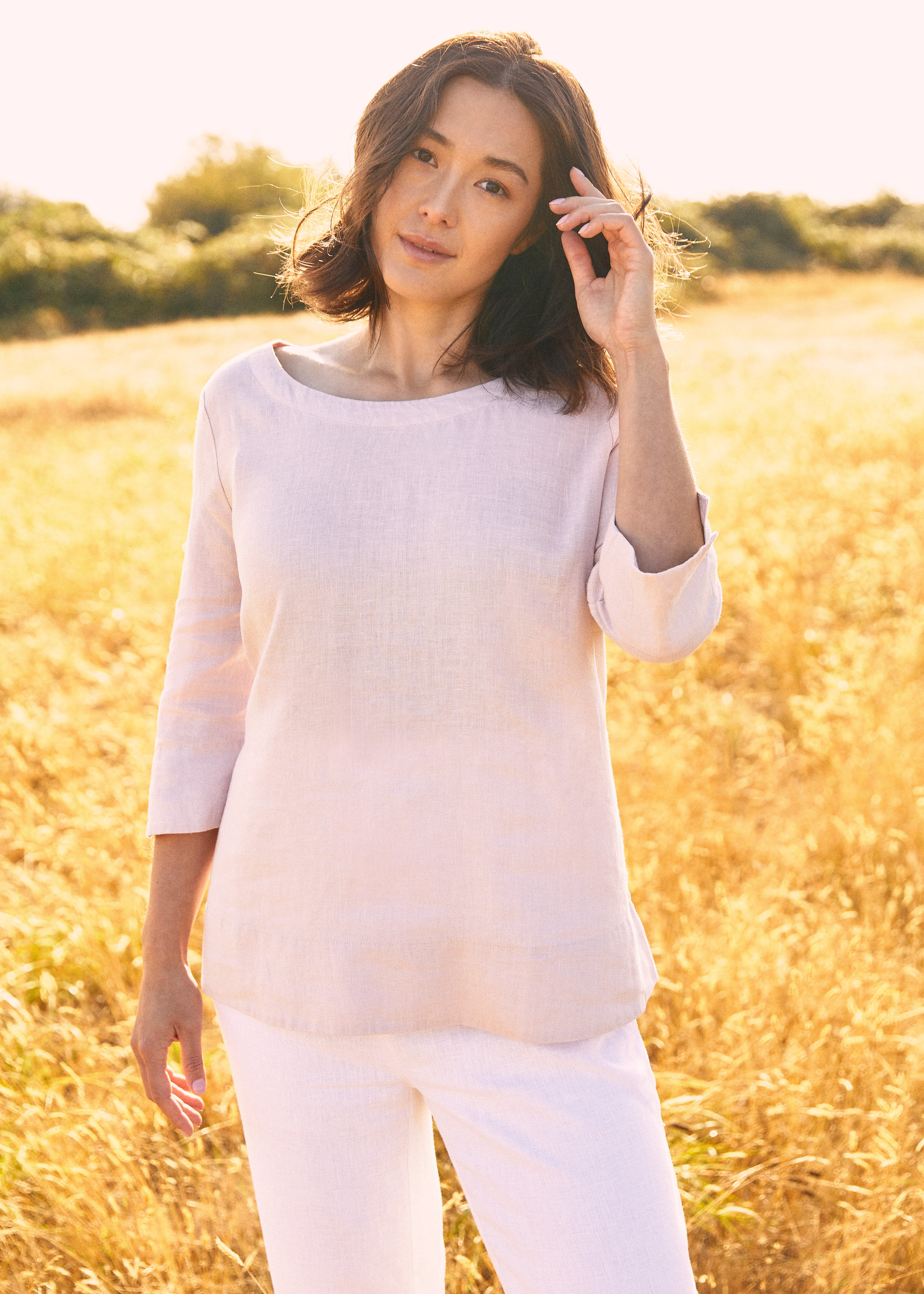 Sympli 100% Linen 3/4 Sleeve Top Style LW2202, 4 Colors Available