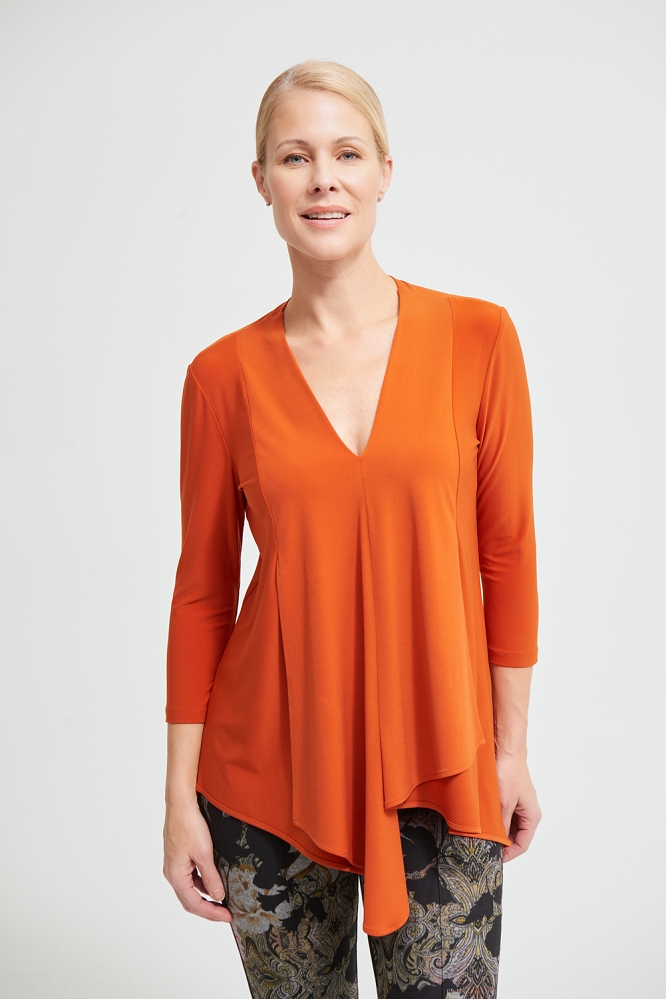 Joseph Ribkoff Womens Asymmetrical 3/4 Sleeve Tunic Style 161066J Color Topaz