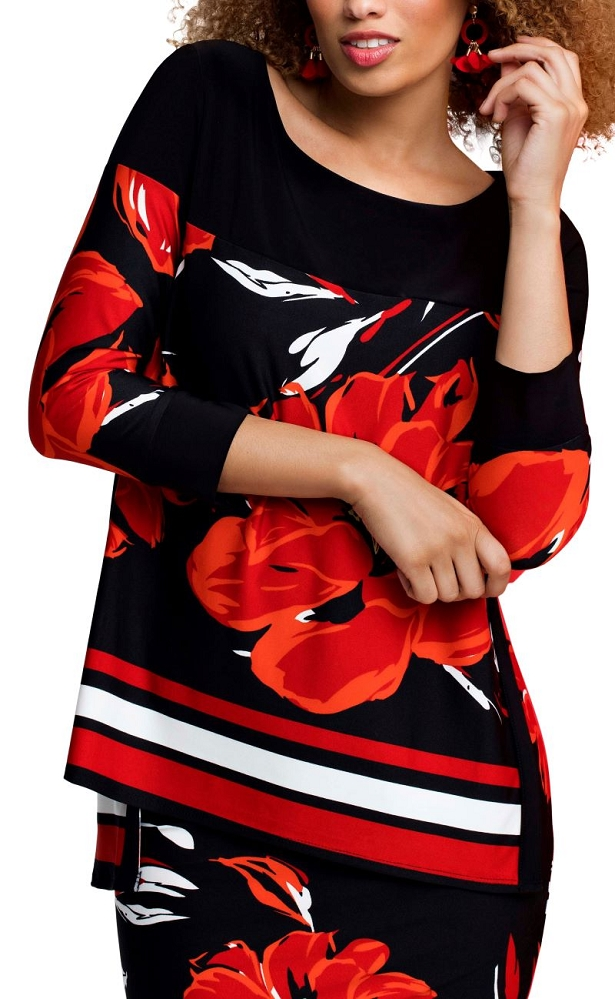 Frank Lyman Womens Red Floral Tunic Style 191277 Color Black/Red