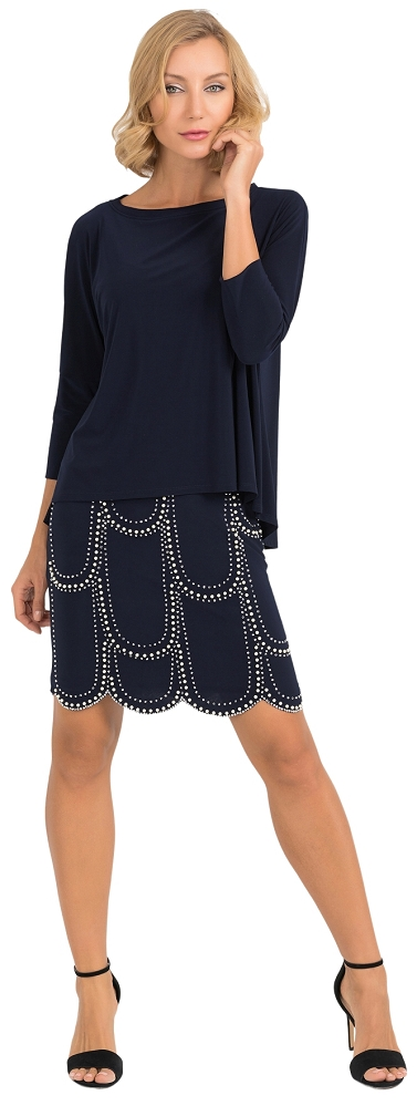 Joseph Ribkoff Womens Overlay Embelisshed Dress Style 193004 Color Midnight Blue