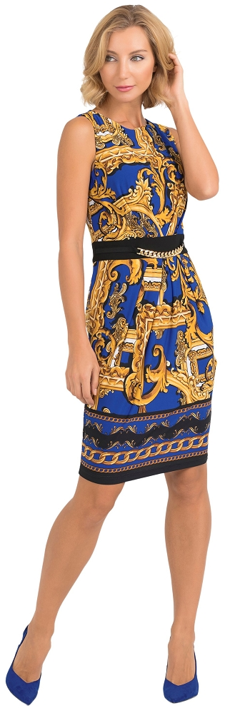 Joseph Ribkoff Womens Royal Chain Dress Style 193632 Color Royal/Black