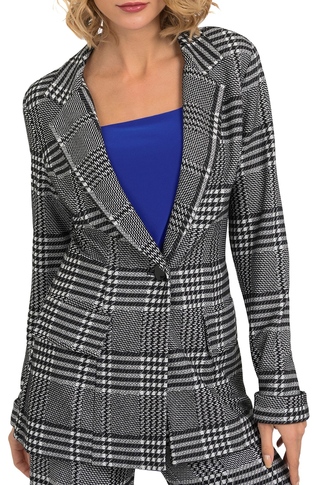 Joseph Ribkoff Womens Houndstooth Print Blazer Style 193819 Color Black/White