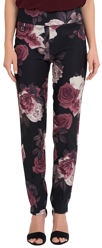 Joseph Ribkoff Womens Rose Floral Print Slim Fit Pants Style 194664 Color Black/Multi (COPY)