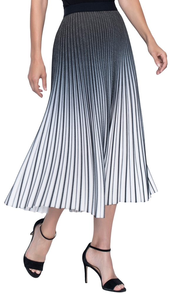 Frank Lyman Women's Pleated Midi Skirt Style 196098U, Color Black/White