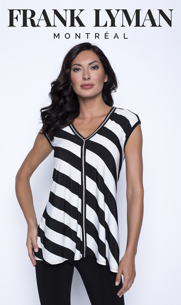 Frank Lyman Womens Top Style 201549, Color Black/Off-White