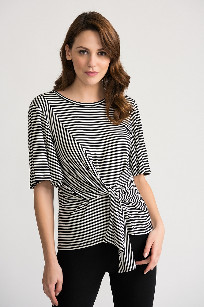 Joseph Ribkoff Womens Striped Blouse Style 202190 Color Black/White