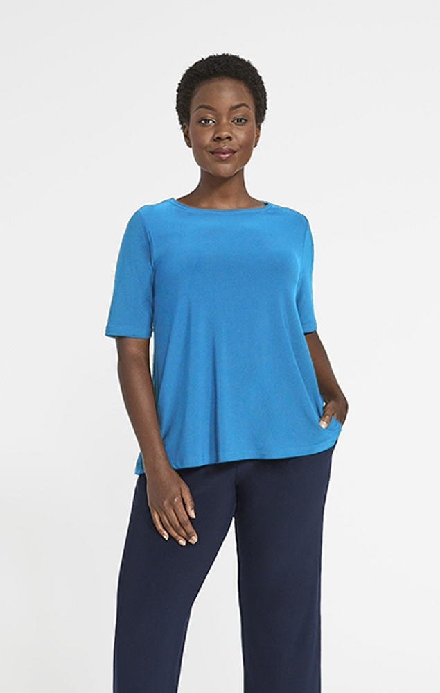 Sympli Womens Trapeze Top Short Sleeves Style 22228-1, 3 Colors Available