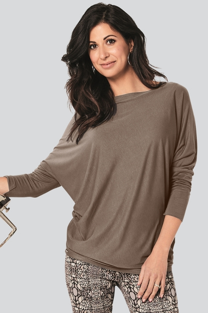 Lisette L Fall Tops Style 222338 Sienna Jersey Color Mushroom