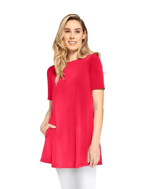 Sympli Womens Short Sleeves, Trapeze Tunic Style 23155-1, 3 Colors Available
