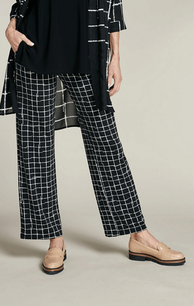 Sympli Womens Straight Leg Pant Style 27209 Color Crosshatch Small Black