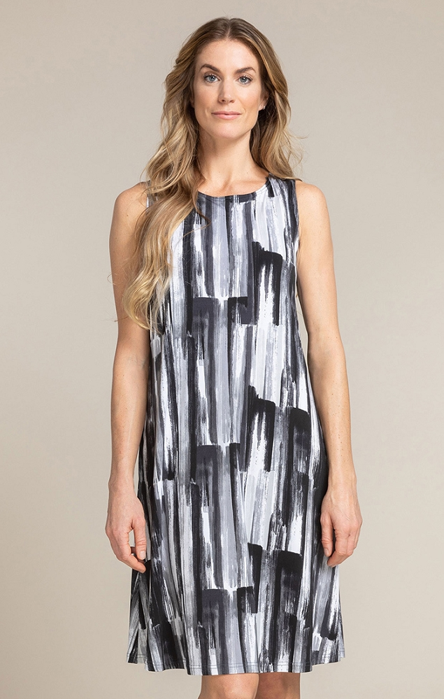 Sympli Womens Sleeveless Trapeze Dress Style 2894S Color Brushstroke