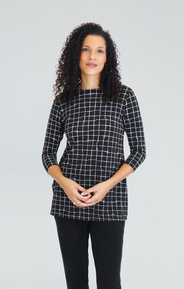 Sympli Nu Ideal Tunic 3/4 Sleeves, Style 23113-2 Small Crosshatch Color Black