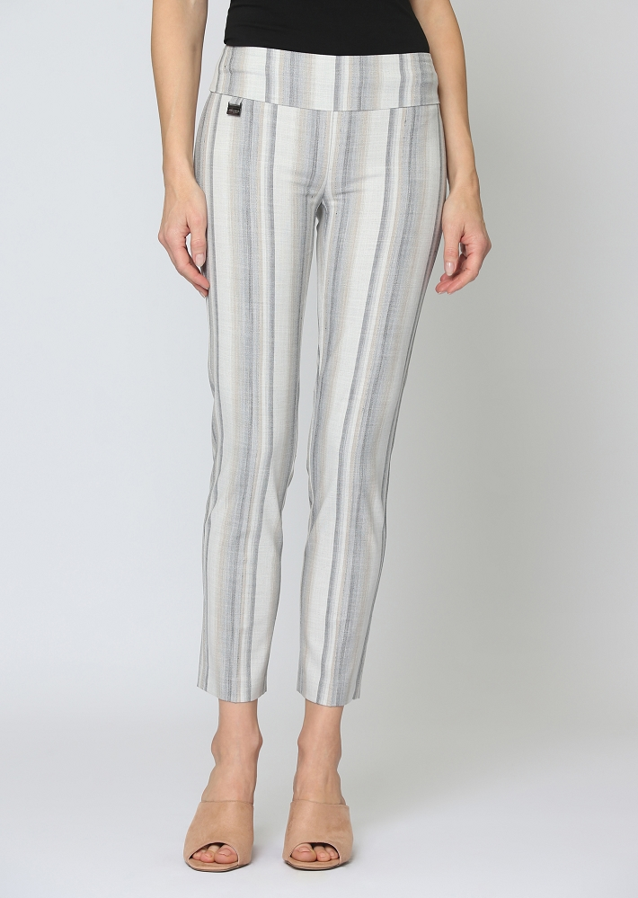 Lisette L. Ankle Trouser Style 64956 Linen Look Paloma Stripe Color Beige