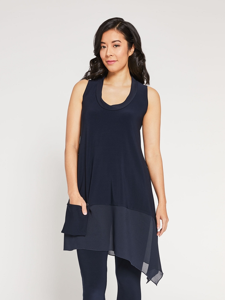 Sympli Womens Sleeveless Whisper Tunic Style 9104, 2 Colors Available