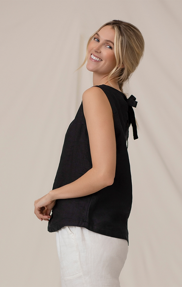 Sympli 100% Linen Sleeveless Black Tie Back Tank Style LW2100, Color Black