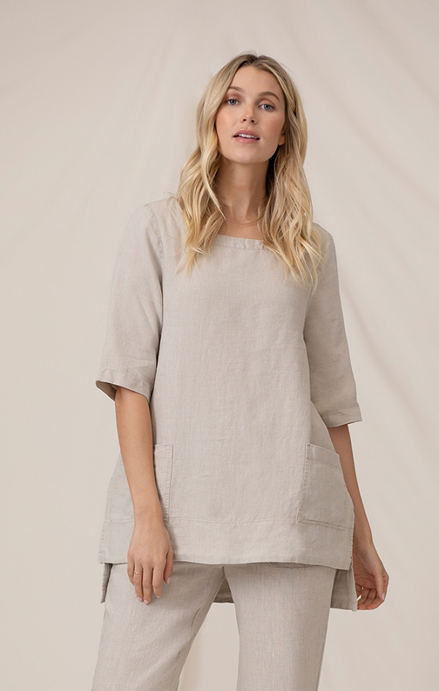 Sympli 100% Linen Pocket Tunic Style LW2300 Color Flax