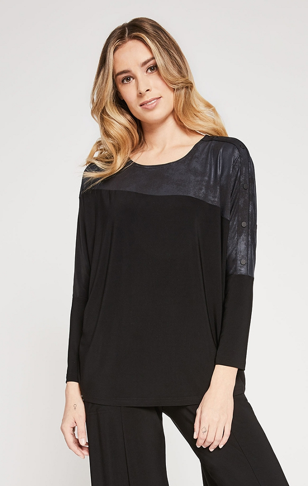 Sympli Womens Storm Boxy Top Style 22189-3 Long Sleeve, Color Black