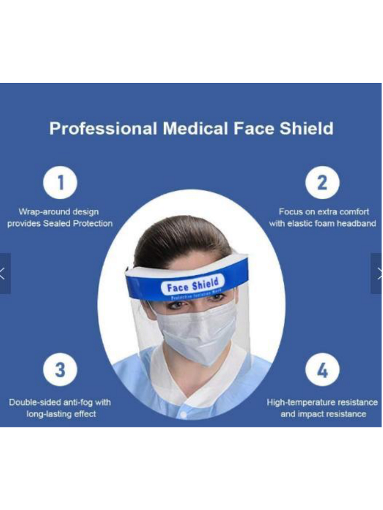 Full Face Transparent Safety Shield With Foam Protection, Pack of 6