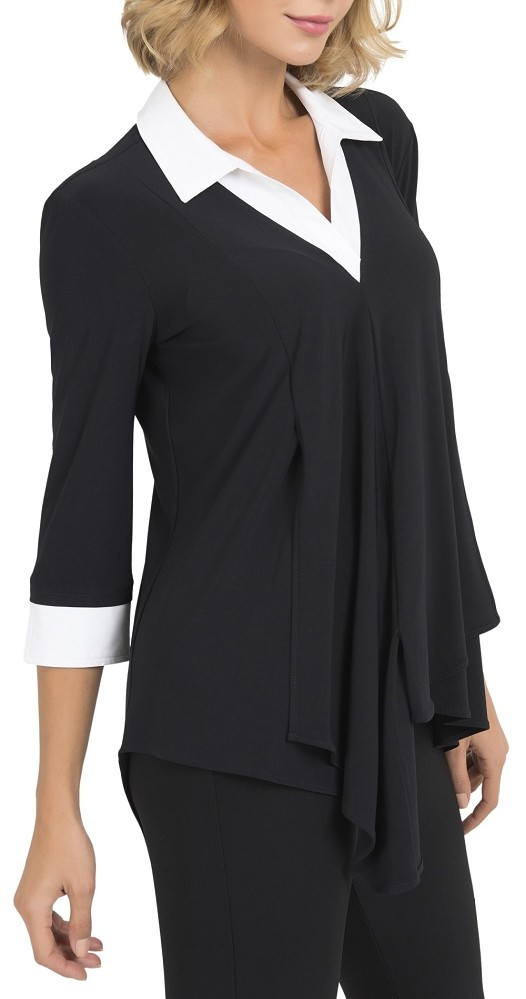 Joseph Ribkoff Womens Collared Tunic Style 193415 Color Black/White
