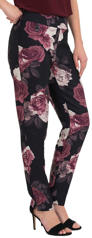 Joseph Ribkoff Womens Rose Floral Print Slim Fit Pants Style 194664 Color Black/Multi