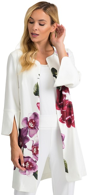 Joseph Ribkoff Womens Floral Jacket Style 201501 Color White/Multi