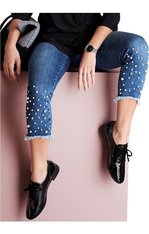Lisette L. Slim Ankle Jeans Style 455785 Betty Denim With Pearl Detail Color Denim Blue (2 Colors Available)