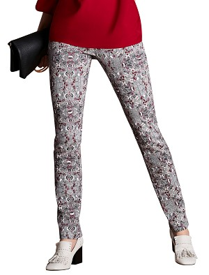 Lisette L. Skinny Leg Pant Style 44829 Ditsy Herringbone Print Cotton Twill Color Black-White