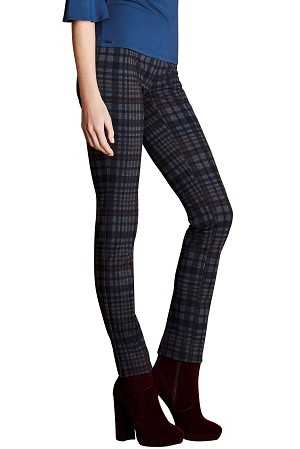 Lisette L. Slim Ankle Pant Style 44401 Irish Plaid PDR Color Prussian Blue