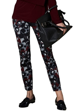 Lisette L. Slim Ankle Pant Style 40601 Pablo Print CP Twill Color Brick Red