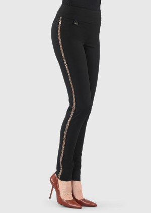 Lisette L. Thinny Pant Style 176620 Kathryn Leopard Gold Stripe Color Black