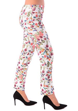 Lisette L. Sport Slim Ankle Pants Style 34453 Embroidery Flower Print Color Multi