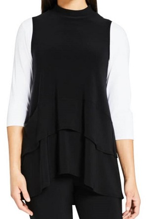 Sympli Womens Sleeveless Waterfall Top, Style 21153, Color Black