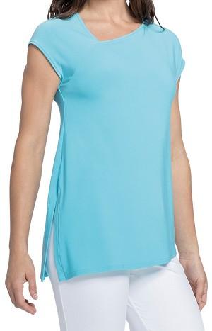 Sympli Womens Slant Top with Cap Sleeves Style 22161-0, 2 Colors Available
